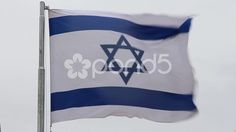 israel flag in the wind - Stock Footage   by frizio