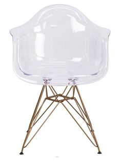 Ceremony Clear Gold Wire Armchair | Modern Furniture • Brickell Collection