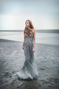 The Most Ethereal Moody Mermaid dress Beach Gowns, Style Outfits, Blue Wedding Dresses, Fantasy Dress, Veronica, Evening Gowns, Dress Up, Sea Dress, Beautiful Dresses