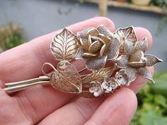 vintage Portuguese filigree vermeil gold washed solid silver 800 g floral brooch