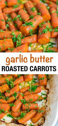 Easy and delish side dish idea - garlic butter roasted carrots! Garlic Butter Roasted Carrots Tabbi's Food Easy and delish side dish idea - garlic butter roasted carrots! Veggie Side Dishes, Side Dishes Easy, Side Dish Recipes, Food Dishes, Vegetarian Side Dishes, Yummy Healthy Side Dishes, Easy Vegetable Dishes, Carrot Dishes, Vegetable Entrees