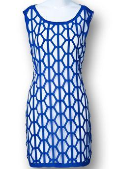 Blue Sleeveless Geometric Pattern Double Layers Dress