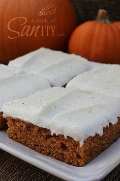 If you are looking for a moist pumpkin bar, this ones for you.  This is a very easy recipe with lots of flavor.  I love lots of flavor and will probably a 1/4 tsp. allspice next time.  This makes a large amount of frosting and you could cut the recipe in half.  I also added 1/2 vanilla bean to the frosting as well as the almond extract.  This was a hit with my co-workers, so I will make again.