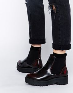 Enlarge New Look Carter Oxblood Chunky Sole Ankle Boots