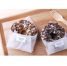 Mini Desserts For Parties Baking Packaging, Bread Packaging, Dessert Packaging, Food Packaging Design, Diy Dessert, Dessert Recipes, Donut Recipes, Delicious Donuts, Yummy Food