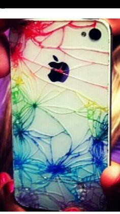 Cracked phone case colored in with sharpie.. Pretty cool if I ever break my phone