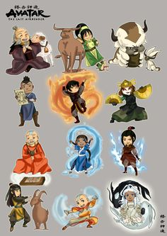 Avatar: the Last Airbender characters, cute, chibi; Avatar: the Last Airbender Avatar Aang, Avatar Airbender, Suki Avatar, Avatar Legend Of Aang, Team Avatar, Legend Of Korra, Chibi, Zuko, Arte Ninja