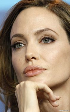 Angelina Jolie; very beautiful, but what I always notice is she has the eyes of an old soul....