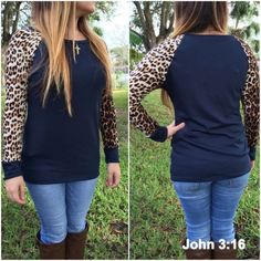 Long sleeve knit tops navy Knit top with animal print long sleeves. 64%polyester 33%rayon. Please do not purchase this listing. Comment with size and I will create a new listing for you. Small (2/4) Medium (6/8) Large (10/12). Price is firm unless bundled. Tops