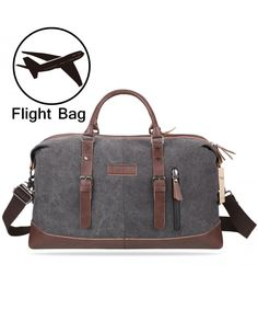 Mens Duffel Bag Vintage Weekender Bag Travel Duffel Bag Canvas Overnight Bag  - Gray - CA1839CO885 11171a5cc412b