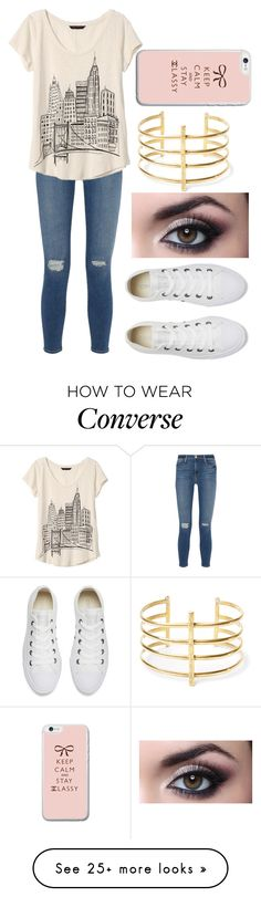 """""""Untitled #2205"""" by aiag on Polyvore featuring Frame Denim, Banana Republic, Converse and BauXo"""