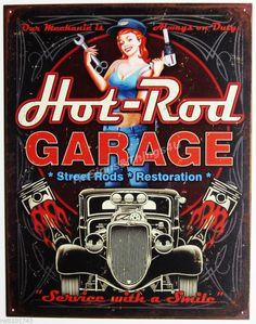 Hot-Rod Garage Pinup Girl TIN SIGN street piston vtg car metal wall decor 1990