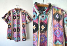 90s Southwestern Tribal Pattern Button Up  por BuddyBuddyVintage