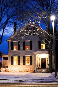 """Winter Photograph """"The Lights of Home"""" taken in Woodstock VT. ELizabethSt at etsy.  Beautiful!"""