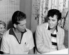 ELVIS with The SUNSHINE BOYS ~ around the piano at Graceland - August 1957 singing gospel music.