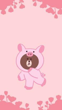 Lines Wallpaper, Brown Wallpaper, Cartoon Wallpaper, Pig Cookies, Melody Hello Kitty, Brown Bear, Cony Brown, Cute Kawaii Animals, Friends Wallpaper