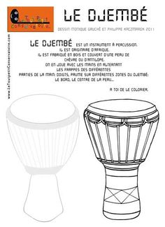 coloriage djembe Plus African Crafts, African Art, Pencil Crossbow, Instrument De Percussion, Djembe Drum, Geography For Kids, Teaching Music, French Art, Musical Instruments