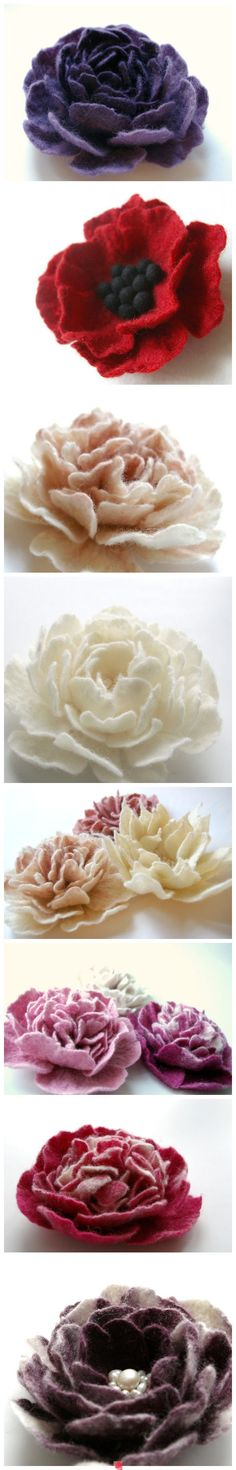 Hand felted flowers. Purtiful images