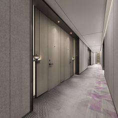 Hotel Hallway, Hotel Corridor, Condo Design, Interior Design, Corridor Lighting, Corridor Design, Lobby Lounge, Hallway Designs, Built In Cabinets