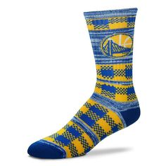 Adult For Bare Feet Golden State Warriors Double Plaid Crew Socks ab3f7c4c2