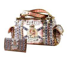 WESTERN Pink COWGIRL Wanted ALIVE Handbag Wallet Set Rhinestone Star Leopard NEW #SSFashionLeathers #ShoulderBag