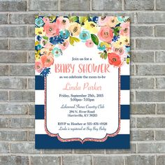BABY SHOWER FLORAL Baby Shower Invitation Watercolor by PoppinsInk