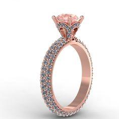 Rose Gold Diamond Engagement Ring with Morganite center. Style 44RGDMO- Fabian Diamonds