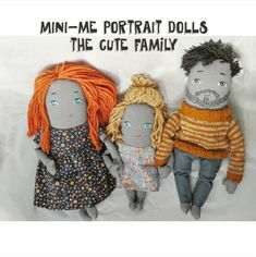 Custom portrait Dolls made from pictures supplied by the customer. This offre includes 3 cCustom Portrait Dolls.