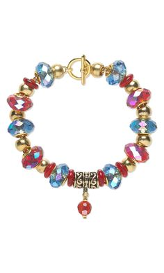 Bracelet with Dione™ Glass Beads and Brass Beads - Fire Mountain Gems and Beads