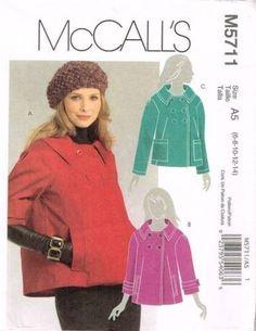 5711 Sewing Pattern McCall's Ladies Coat / Jacket 6 8 10 12 14