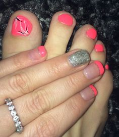 Matching mani/pedi.. Looks bubblegum pink but is actually coral!