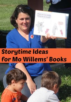 Storytime Ideas for Mo Willems' books The Pigeon Needs a Bath and There Is a Bird On Your Head from growingbookbybook.com