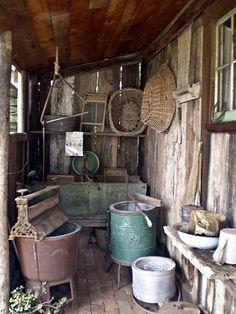 Retro photograph of an old fashion laundry with equipment Primitive Laundry Rooms, Primitive Kitchen, Primitive Antiques, Antique Kitchen Decor, Country Primitive, Vintage Kitchen, Vintage Decor, Rustic Decor, Farmhouse Decor