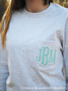 Solid Color Long Sleeve Pocket T-Shirt with Monogram 6.1 ounce, 100% Cotton *Note: Pocket is not usable after shirt has been monogrammed