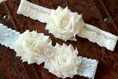 Wedding garter, Ivory and blue garter set, Vintage garter set. via Etsy. $27.99