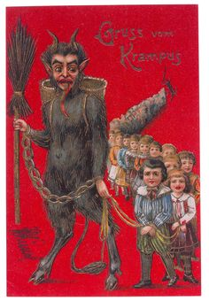 Man, that's a lot of bad kids! Nikolaus' dark servant, Krampus was always eager to lend a helping hand to keep mischievous and misbehaving boys and girls in line. The image on this card is taken from an antique postcard and reproduced in ful Dark Christmas, Merry Christmas Card, Christmas Greetings, Bad Kids, Book Of Shadows, Fantasy Creatures, Illustrators, Horror, Greeting Cards