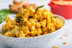 Planning a cozy night in with your favorite movie (and person\/s)? Make it additionally lovely with our quick and easy Curry Leaf Popcorn! It is not only a delicious alternative to your regular popcorn mix, it is also quite healthy –curry leaves are proven to provide potent antioxidant effects! For an even healthier snack, reduce the amount of butter and salt. Asian Desserts, Easy Desserts, Asian Recipes, Ethnic Recipes, Easy Snacks, Healthy Snacks, Asian Food Channel, Popcorn Mix, Food Tasting