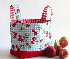 Easter SALE CHERRY in red  fabric basket organizer by albi333, $25.00