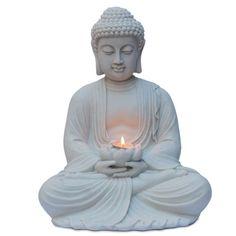 Estátua de Buddha c/ porta-vela flor de lótus nas mãos, artesanato feito em marmorite. Compre estatuetas de deuses e divindades p/ decoração de ambientes zen.