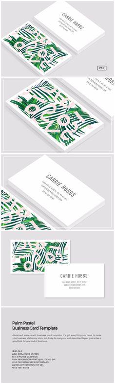 Palm Pastel Business Card Template https://creativemarket.com/MeeraG/1022000-Palm-Pastel-Business-Card-Template #design #art #graphicdesign