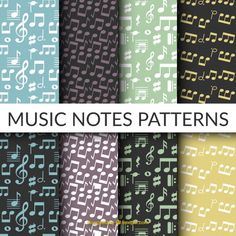 Flat selection of eight patterns with musical notes Free Vector
