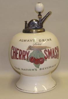 Fowlers Cherry Smash Soda Fountain Dispenser Porcelain