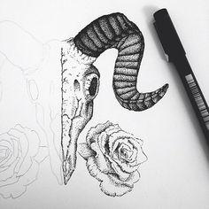 ram skull tattoo stippling - Google Search