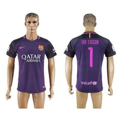 Barcelona 16-17 #Ter Stegen 1 Udebanetrøje Kort ærmer,208,58KR,shirtshopservice@gmail.com