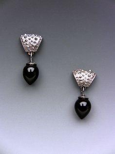 Mini Spine: Hratch Babikian: Silver & Stone Earrings | Artful Home
