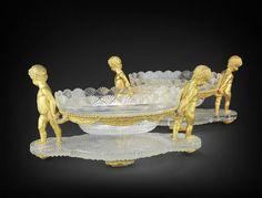 Cut Glass, Glass Art, Cupid, Stained Glass, Diamond Cuts, 19th Century, Centerpieces, Bronze, Fine Art