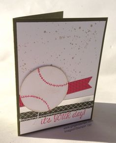 2014  The Circle Framelits were used to cut the baseball.  Then I just laid them on my card for a template for the arched lines.  The stitching was done freehand.The Gorgeous Grunge stamp set inked in Crumb Cake Ink provides the background splatter.   The sentiment is from Fabulous Four.