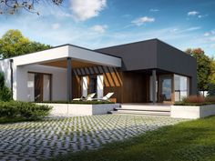 Zdjęcie projektu Artus in 2020 House Roof Design, Flat Roof House, Facade House, Modern House Facades, Modern Bungalow House, Modern House Plans, Modern Small House Design, One Storey House, Home Fashion