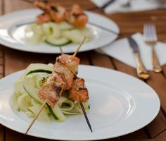 Miso Glazed Salmon Kebobs with Cucumber Salad