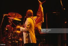 Justin Hayward and Graeme Edge (right) from The Moody Blues perform live on stage at Madison Square Garden in New York on November 27 1978